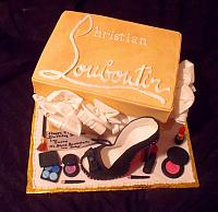 Christian Louboutin Shoebox, Shoe Fondant Fashionsta Cake with Edible Makeup top view