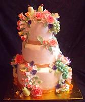 Fruit And Flowers Still Life Themed Tiered Fondant Birthday Cake front view