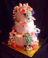 Fruit And Flowers Still Life Themed Tiered Fondant Birthday Cake main view