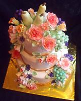 Fruit And Flowers Still Life Themed Tiered Fondant Birthday Cake view from top