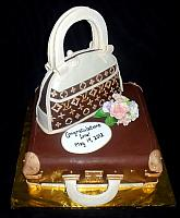 Designer Purse on Luggage Fondant Cake with Edible Gumpaste Floral Bouquet main view