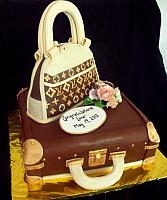 Designer Purse on Luggage Fondant Cake with Edible Gumpaste Floral Bouquet view 2