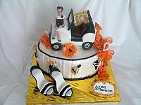 Edible Jeep, Edible Shoes, Edible Brooches Jewelry, Orange Fantasy Flowers Fondant Fashion Cake front view