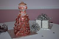 Bridal Dress Cake with Present Cake - to see many more pictures, go to the Wedding Cakes section of this website