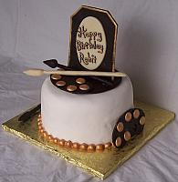 Chocolate Birthday Cake with white and dark chocolate decorations