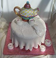 Tea party cake with edible Teapot for bridal shower event