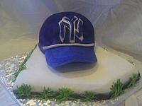 Yankees Baseball Cap Cake On HomePlate Cake Front view