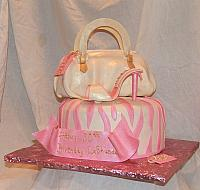 Pink and Ivory Designer Purse Cake with designer shoes and zebra striped cake - view 2