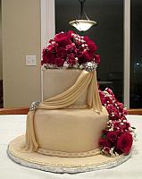 Anniversary 50th Fondant Cake With Swags, Edible Gumpaste Jewels, Fresh Flowers main view