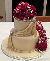 Anniversary 50th Fondant Cake With Swags, Edible Gumpaste Jewels, Fresh Flowers front view