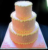 Buttercream Pink And Ivory Tiered Cake