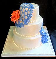 Edible Antique Lace with Edible Blooming Rose Tiered Cake