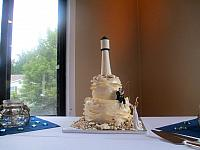 Ivory Lighthouse Theme Wedding Cake