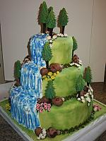 Outdoors Theme Wedding Cake with Trees, Waterfall, Flowers, Rocks