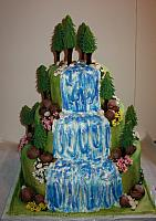 WeddingCakeOutdoorsThemeWaterfallTreesFront