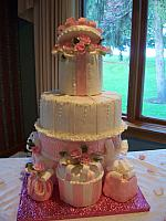 Pink And White Present Wedding Cake