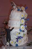 Wedding cake with handmade gumpaste bride and groom, gumpaste horses, gumpaste flowers