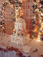 Fall Leaves Stacked Presents Wedding Cake