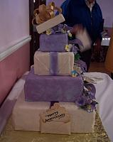 Purple Present Cake with Gumpaste Flowers and Edible Cards