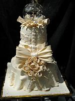 Ivory Lace Anniversary Tiered Fondant Cake with sunlight