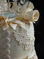 Edible Gumpaste Ivory Lace with Edible Pearls Closeup 3
