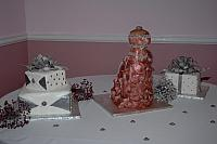Bridal Dress Cake and Two Present Cakes