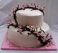 Asian themed wedding cake with sugarpaste(also known as gumpaste) cherry blossoms
