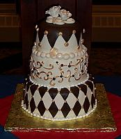 Whimsical Tiered Cake with Chocolate and Ivory fondant - good for Wedding or Grooms cake