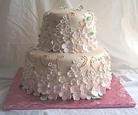 Asian Brocade Style Cake with Cherry Blossoms