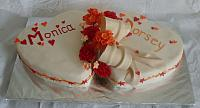Wedding Cake of Two Hearts, Red Gumpaste Roses, Orange Hydrangea Gumpaste Flowers