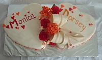 Wedding Cake of Two Hearts,  Red Gumpaste Roses,  Orange Hydrangea Gumpaste Flowers, top view